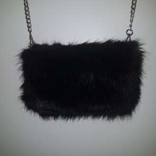 Boohoo faux fur evening bag