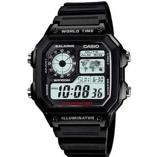 CASIO Digital watch 10-YEAR BATTERY AE-1200WH-1AV