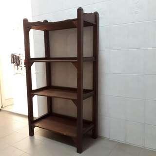 vintage wooden shelves bookcase kitchen display