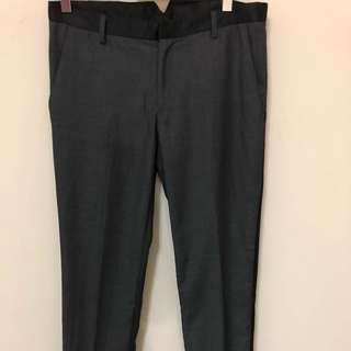真品 Dior Homme 義大利製灰色滾黑邊條窄管長褲