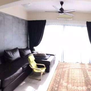 L-shaped long, big sofa (dark brown)