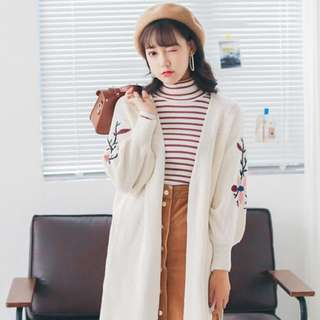 Knitted Embroided Cardigan