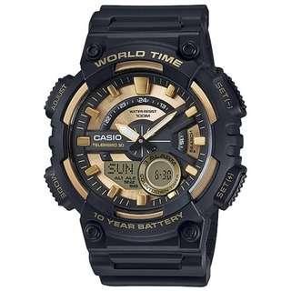 CASIO World Time Analog-Digital watch 10-YEAR BATTERY AEQ-110BW-9AV
