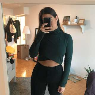 Forever 21 Forest Green turtleneck crop
