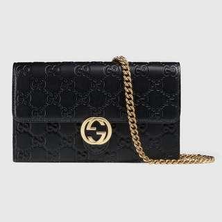 Gucci,Signature Chain Wallet Black
