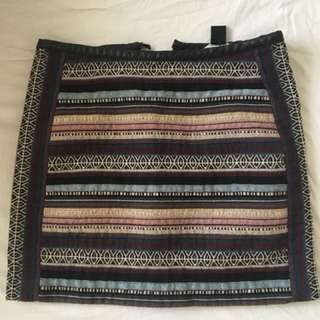 Tube Skirt - H&M - mixed print & leather lining