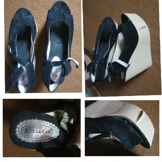 wedges black suede no.40