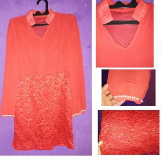 tunik brukat mutiara red
