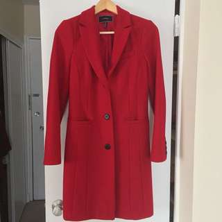 Le Chateau Wool Blend Notch Collar Red Coat - Size XS
