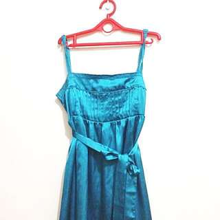 Zara TRF Metallic Blue Slip Dress