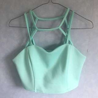 Cropped Teal Strappy Top