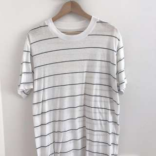 Unisex Assembly Label Oversized Striped White Tee in Small