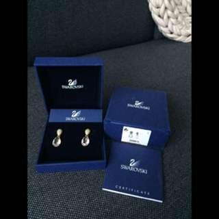 Authentic Swarovski teardrop blush gold crystal earrings
