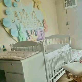 Wooden Baby crib (white)