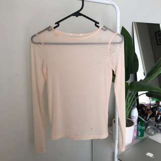 Pink mesh top