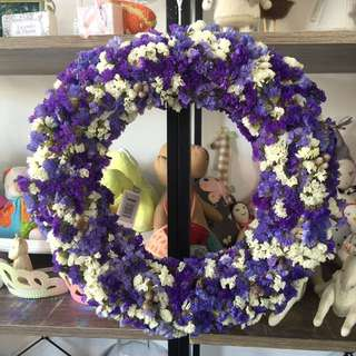 Ever lasting dried statice wreath made to order