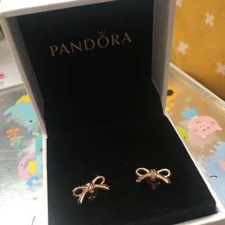 Pandora 玫瑰金蝴蝶結耳環