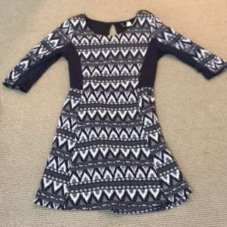Size 8 H&M 3/4 Sleeve Navy Dress