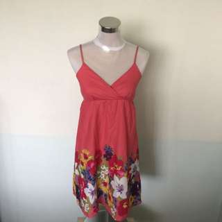 Pink Spaghetti Dress With Floral From Dano