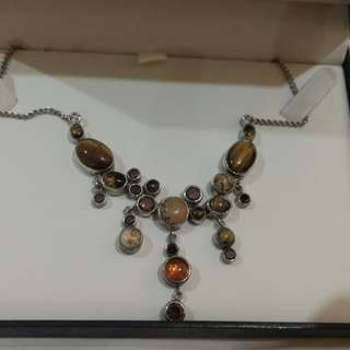 Sterling silver + tiger eye necklace
