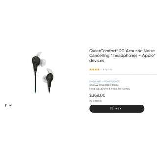 BOSE earphones Quiet Comfort 20 Acoustic Noise Cancelling ™ headphones – Apple ® devices