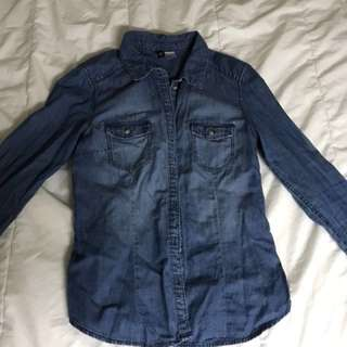 Dark blue H&M denim button up shirt