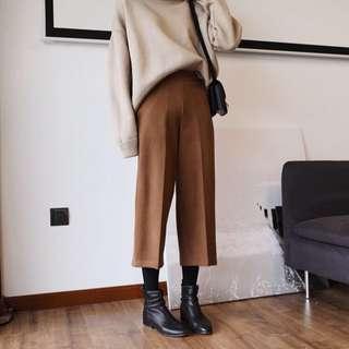 加厚毛呢闊腿褲(預購)