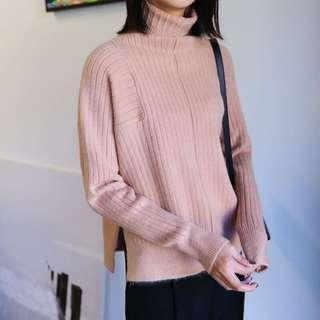 高領開叉羊毛混紡毛衣  短款(預購)