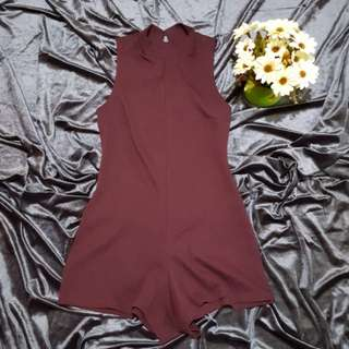 Authentic Topshop Maroon Open Back Romper