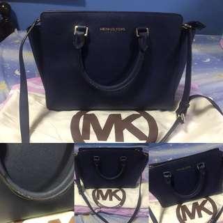 Preloved Michael Kors Selma Saffiano Satchel Bag - Navy Blue