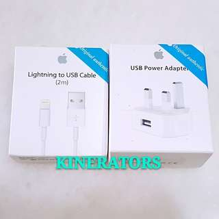 ($35/set) Apple Charger Set (3 Pin Adaptor + 2m Apple Cable)