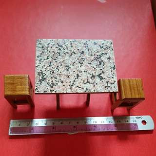 Miniature Wooden Rectangular Table w/ 2 Chairs