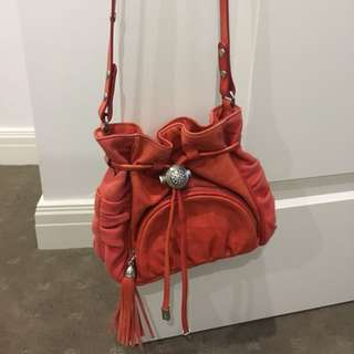 Mimco Fintasia Red Leather Day Pouche Shoulder Bag