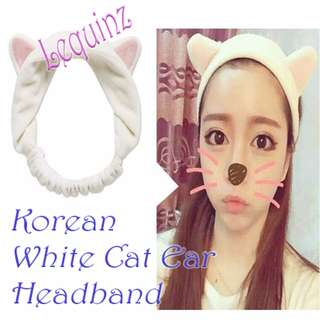 Korean Style White Cat Ear Headband