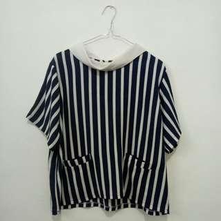 Baju motif garis (navy blue)