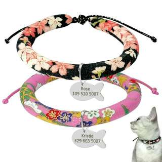 Handmade Kitten Cat Collar With Personalized Fish Shape Pet ID Tag