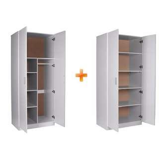 STORAGE PACKAGE-2 DOOR COMBO + 2 DOOR PANTRY, BLACK/WHITE