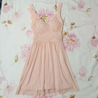 橘粉色雙肩V領細雪紡高腰小禮服