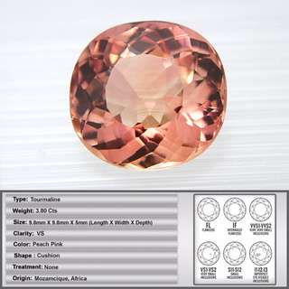 3.80 CT Natural Peach Pink Tourmaline Gemstone