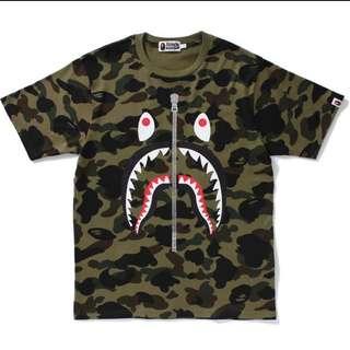Bape shark green Camo tee