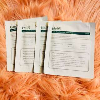 Klairs Rich Moist Soothing Mask (set of 4)