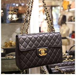 Chanel vintage 復古classic bag 金鏈手袋