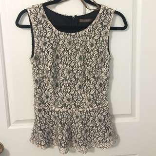 Target Limited Editions Lace Peplum Sleeveless Top