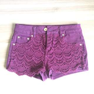 Maroon shorts with crochet front