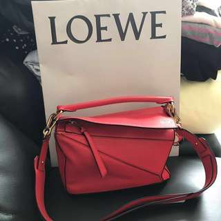 Loewe Puzzle Bag Red Small Size