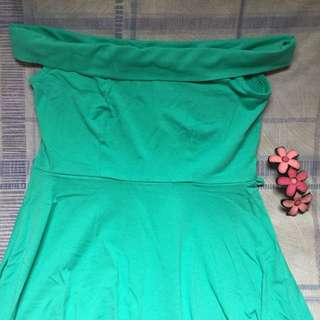 Off Shoulder Skater Dress (Mint)