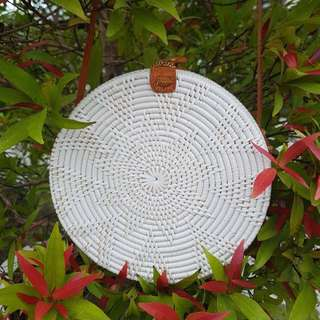 BN white flower design handwoven straw bag