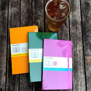 Moleskine large notebooks: Yellow, Green