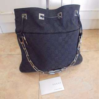 AUTHENTIC GUCCI SHOULDER TOTE BAG , WITH CHAIN MOTIF
