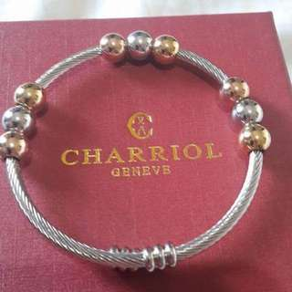 Charriol inspired  bracelet with tricolor charms